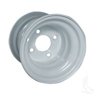 "Steel, White, 8x7 w/ offsett Standard 8"" Golf Cart Wheel"