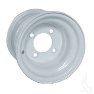 "Steel, White, 8x7 Standard Standard 8"" Golf Cart Wheel"