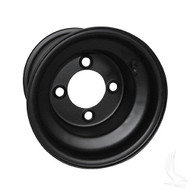 "Steel, Black, 8x7 Standard Standard 8"" Golf Cart Wheel"