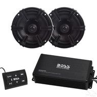 "Bluetooth Audio Package with BOSS  4 Channel 400 Watt Marine Grade Amp and (2) 5.25"" Speakers"