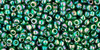 Toho Seed Beads 11/0 Rounds Transparent Rainbow Green Emerald