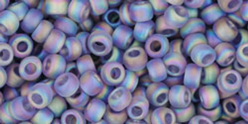 Toho Seed Bead 6/0 Round Transparent Rainbow Frosted Light Tanzanite