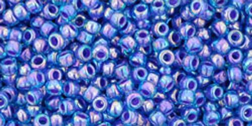 Toho Seed Beads 11/0 Rounds In-Rainbow Aqua/Opaque Purple Lined