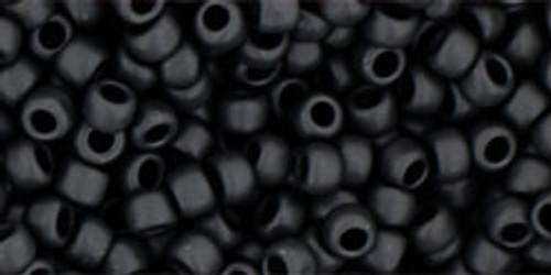 Toho Seed Beads 8/0 Rounds Opaque-Frosted Jet