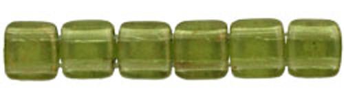CzechMates 2-Hole 6mm Beads Gold-Marbled Olivine 25pcs