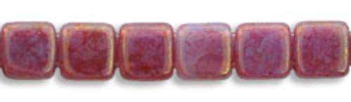 CzechMates 2-Hole 6mm Beads Pink/Topaz, Milky Alexandrite 25pcs