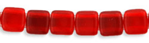 CzechMates 2-Hole 6mm Beads Siam Ruby 25pcs