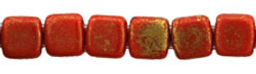 CzechMates 2-Hole 6mm Beads Opaque Red, Marbled Gold 50pcs