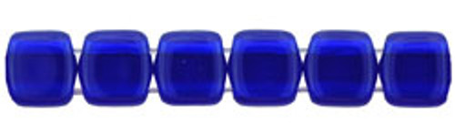 CzechMates 2-Hole 6mm Beads Cobalt 25pcs