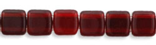 CzechMates 2-Hole 6mm Beads Ruby 50pcs