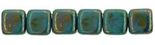 CzechMates 2-Hole 6mm Beads Bronze Picasso-Turquoise 25pcs