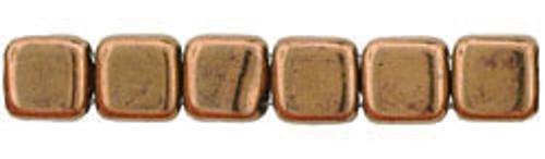 CzechMates 2-Hole 6mm Beads Bronze 25pcs