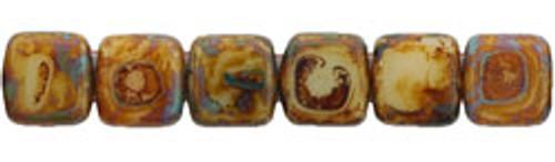 CzechMates 2-Hole 6mm Beads Opaque Lt Beige-Picasso 50pcs