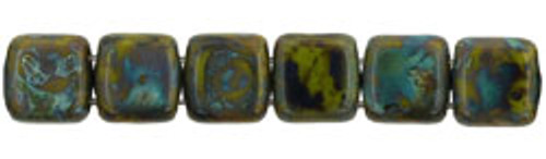 CzechMates 2-Hole 6mm Beads Picasso- Opaque Olive 25pcs