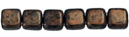 CzechMates 2-Hole 6mm Beads Jet- Bronze Picasso 25pcs
