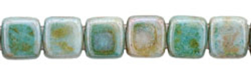 CzechMates 2-Hole 6mm Beads Luster- Opaque Green 25pcs