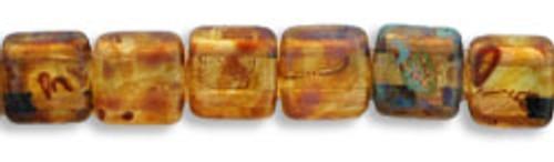 CzechMates 2-Hole 6mm Beads Picasso Crystal 25pcs