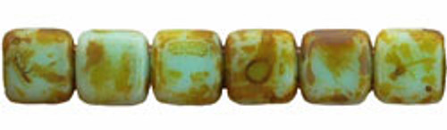 CzechMates 2-Hole 6mm Beads Picasso- Opaque Pale Turquoise 50pcs