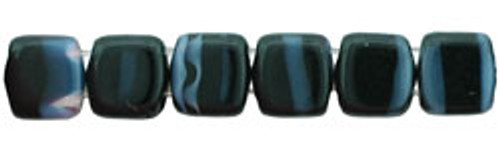 CzechMates 2-Hole 6mm Beads Jet/Grey Stripe 50pcs