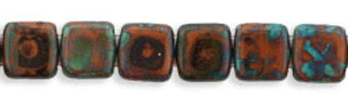 CzechMates 2-Hole 6mm Beads Picasso-Umber 25pcs