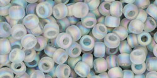Toho Seed Beads 8/0 Rounds Transparent Rainbow Frosted Black Diamond