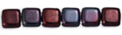 Czechmates 2-Hole 6mm Lustered Metallic Amethyst 25pcs