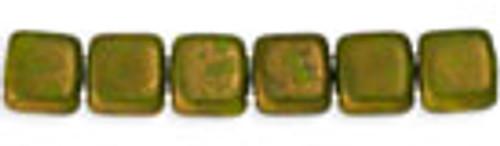 Czechmates 2-Hole 6mm Opaque Olive Moondust 50 pcs
