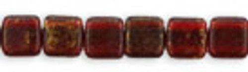 Czechmates 2-Hole 6mm Gold Marbled Ruby 25pcs
