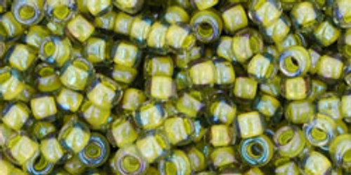 Toho Seed Bead 8/0 Round In-Luster Black Diamond/Opaque Yellow Lined