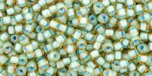 Toho Seed Bead 11/0 Round #338 Rainbow Light Topaz/Seafoam Lined 20gm