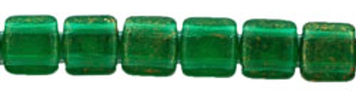 CzechMates 2-Hole 6mm Gold Marbled Green Emerald 25pc.