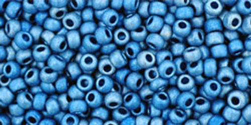 Toho Seed Beads 11/0 Rounds #13 Higher Metallic Frosted Mediterranean Blue 250g