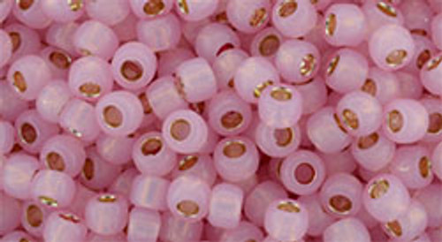 Toho 8/0 Round #143 Permanent Finish Silver Lined Milky Baby Pink 50g