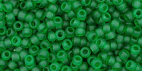 Toho Beads 11/0 Rounds Transparent Frosted Grass Green 8 gram