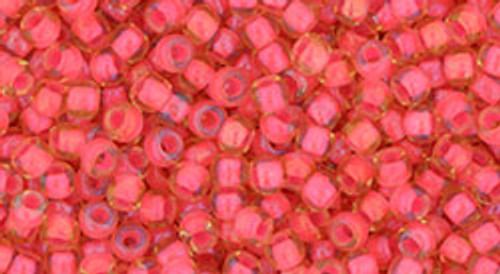 Toho Beads 8/0 Round #156 Luminous Light Topaz Neon Pink Lined 20g
