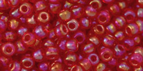 Toho Beads 8/0 Round #176 Transparent Rainbow Light Siam Ruby 50g