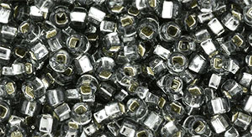 Toho Beads 8/0 Round #186 Square-Hole Silver Lined Black Diamond 50g