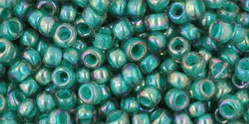 Toho Beads 8/0 Round #192 In 'Rainbow Light Sapphire Opaque Teal Lined' 50g