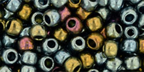 Toho Seed Beads 6/0 Round Galvanized Blue Gold 8 gram tube