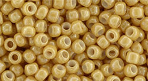 Toho Seed Beads 8/0 Round Opaque  Lustered Dark Beige 8 gram tube