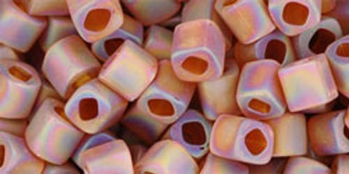 Toho Seed Bead Cube 4mm Transparent-Rainbow-Frosted Smoky Topaz