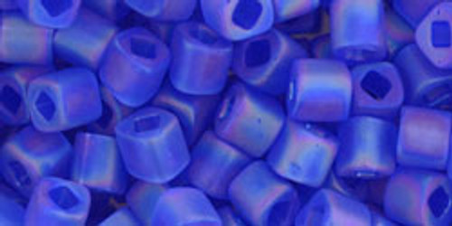 Toho Seed Beads Cubes 4mm Transparent-Rainbow-Frosted Sapphire
