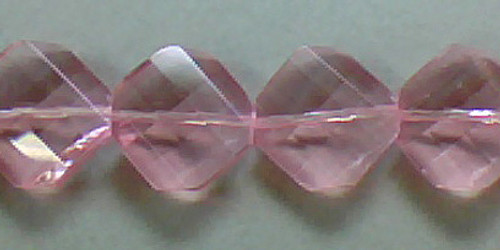 Czech Glass Beads 15mm Twisted Faceted Square Pink 15pcs