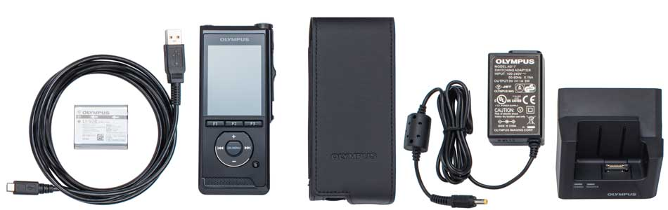 The Olympus DS-9500 complete package contents.