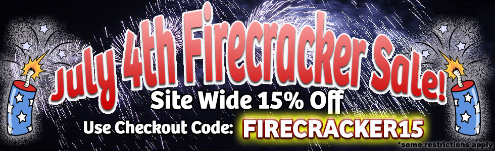 Image announcing StartStop.com 15% off sale with fireworks.