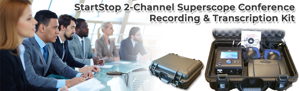 Banner image for Start-Stop Superscope conference recording and transcription kit.
