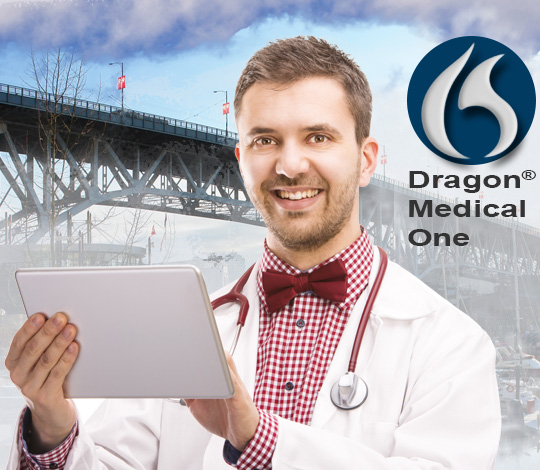 Canadian Doctor using Dragon Medical One on tablet