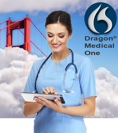 Doctor using Dragon Medical One on tablet