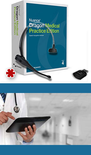 Dragon Medical Practice Edition 4 with VXi VoxStar Bluetooth Microphone Headset