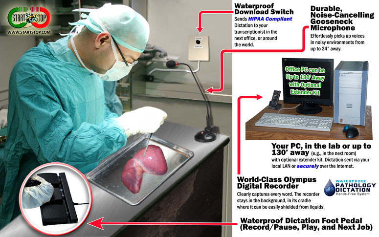 Start-Stop's Waterproof Pathology Dictation System in Action in a laboratory